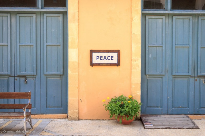 Peace. At the inner-city border in Nicosia (greek side)
