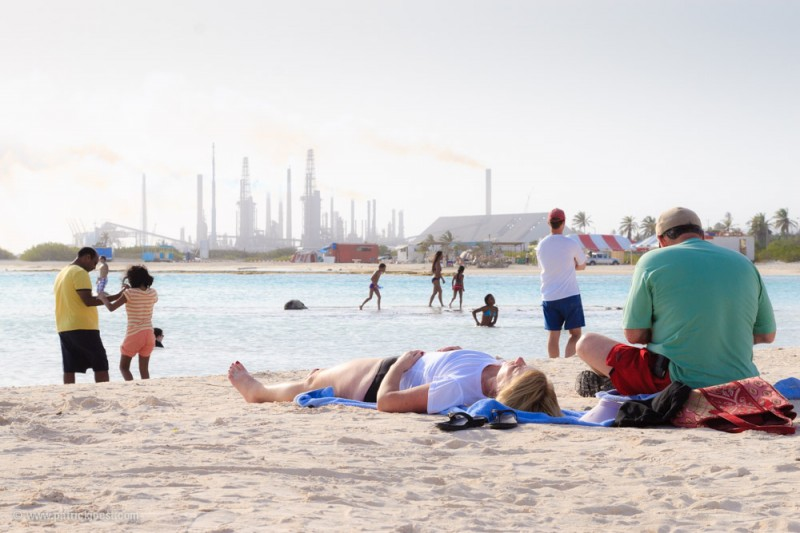 Baby Beach in Aruba with Lago Refinery behind