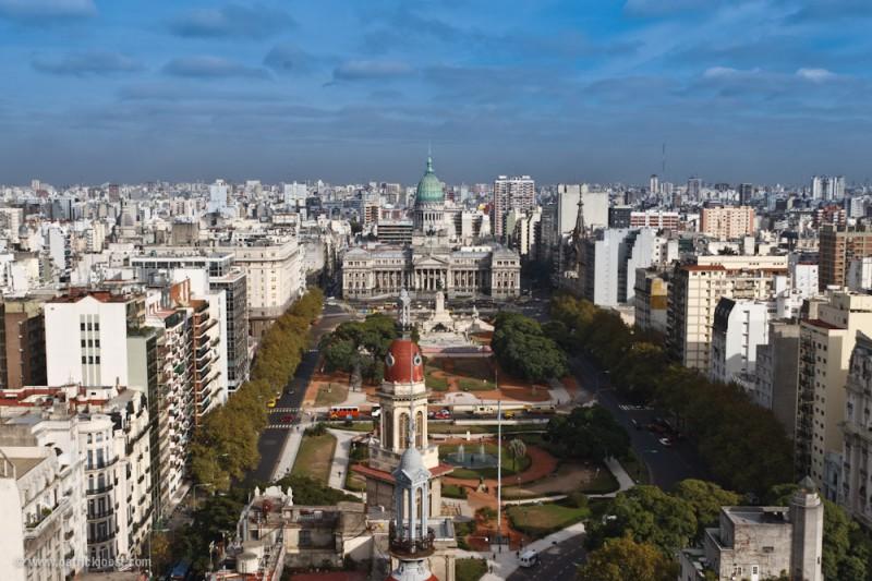 Buenos Aires: View on Placa del Congreso (km0)