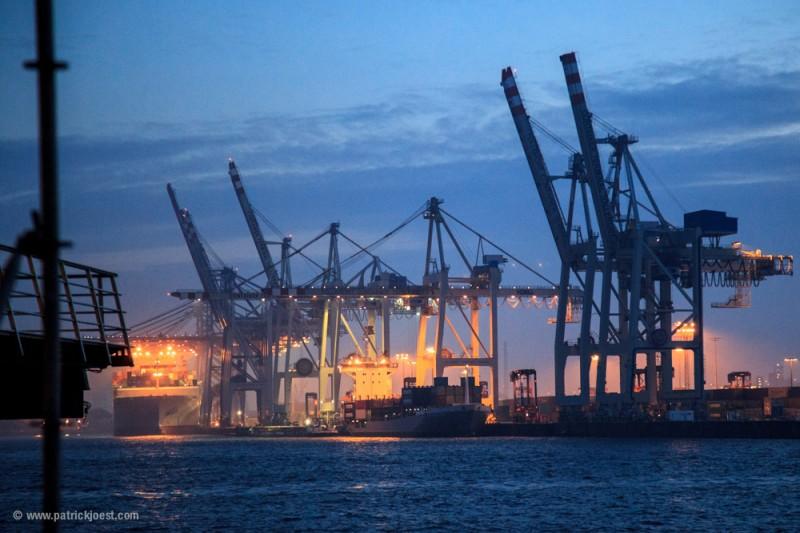 Port of Hamburg in Winter