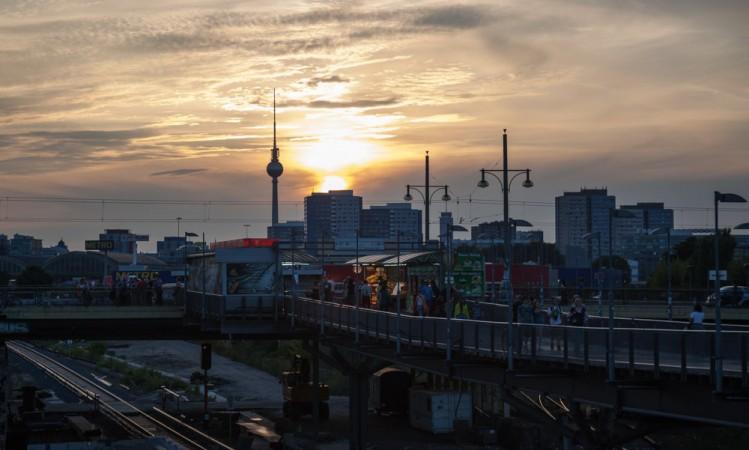Sunset at S-Bahnhof Warschauer Strasse, Berlin