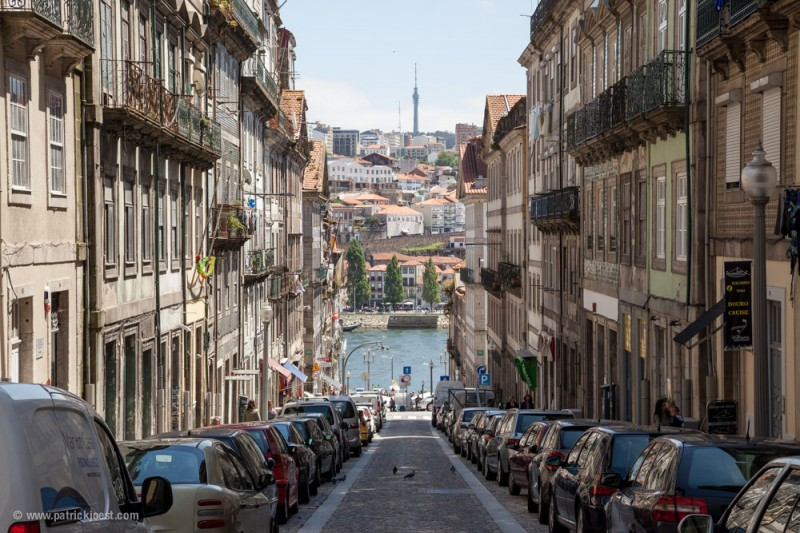 Small street at river bank in Porto
