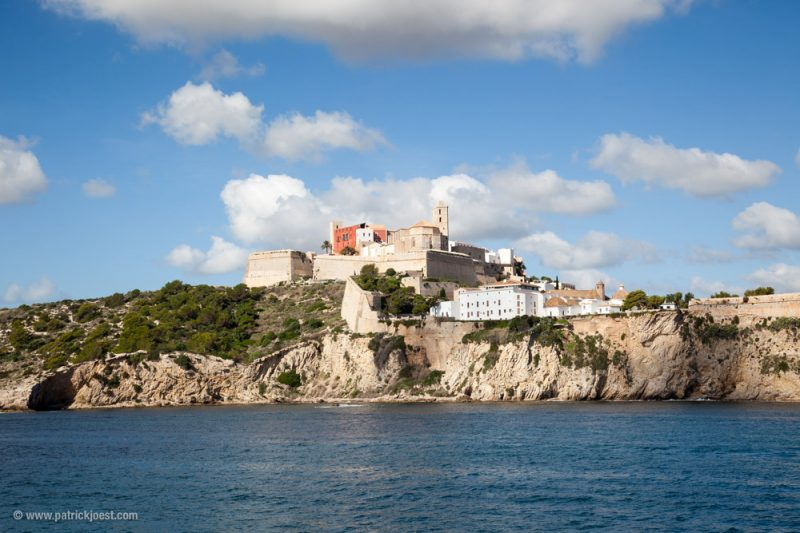 Ibiza Town view with Dalt Vila and Cathedral from seaside